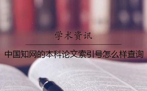 中国知网的本科论文索引号怎么样查询