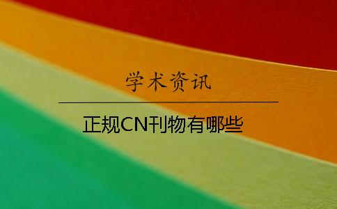 正规CN刊物有哪些